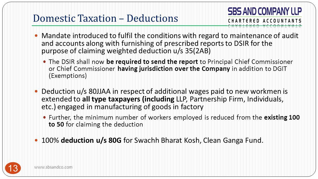 Domestic Taxation – Deductions
