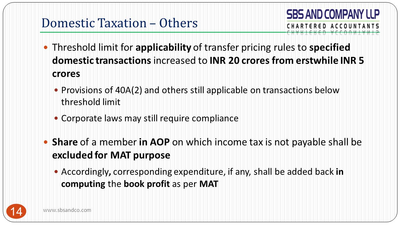 Domestic Taxation – Others