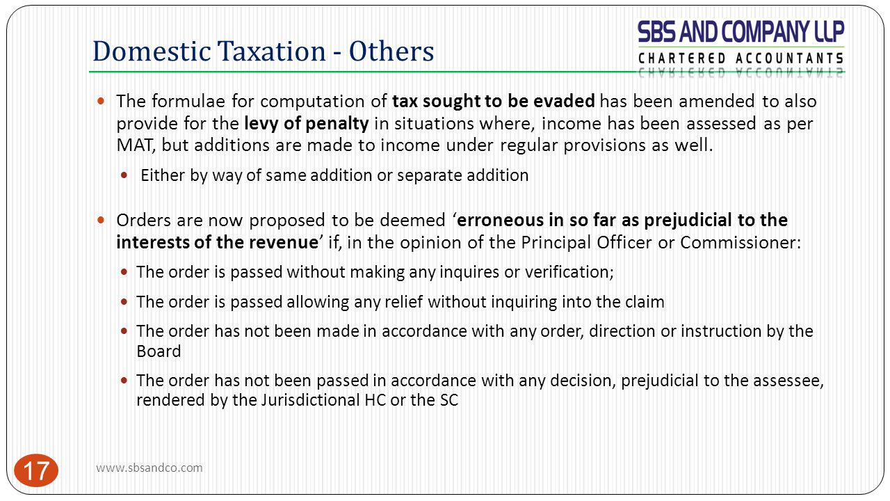 Domestic Taxation - Others