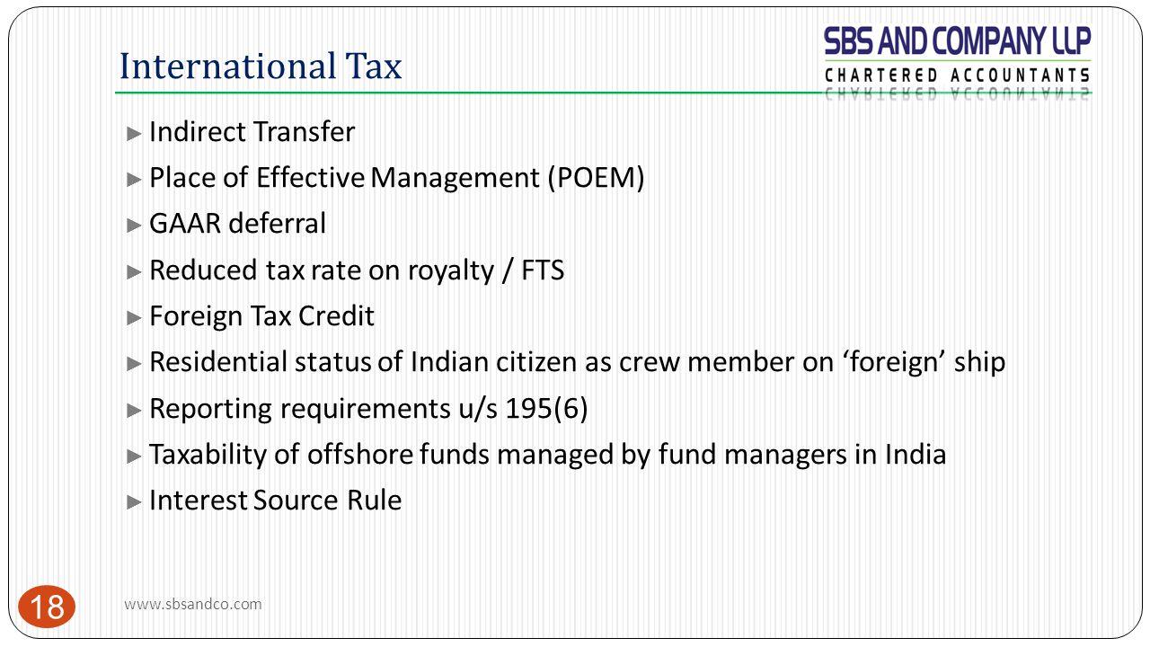 International Tax Indirect Transfer