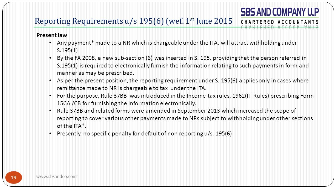 Reporting Requirements u/s 195(6) (wef. 1st June 2015