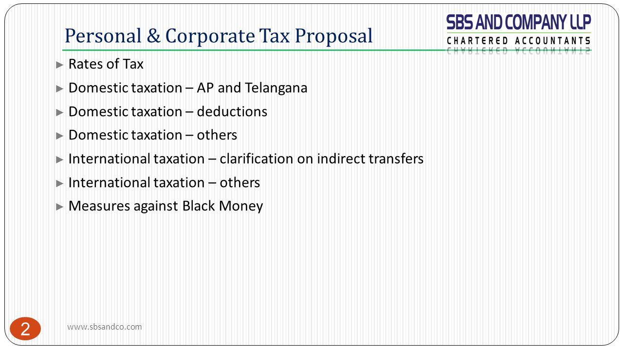 Personal & Corporate Tax Proposal