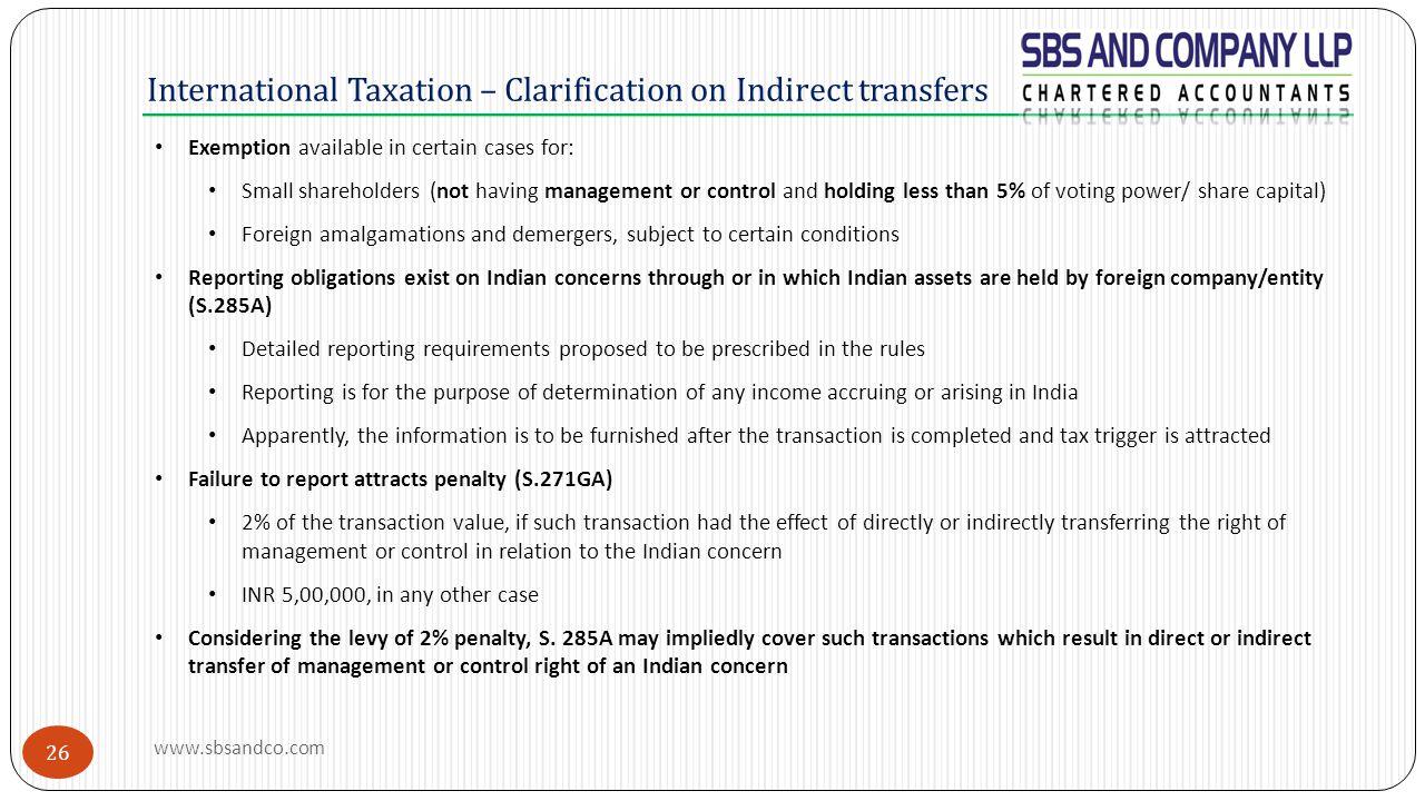 International Taxation – Clarification on Indirect transfers