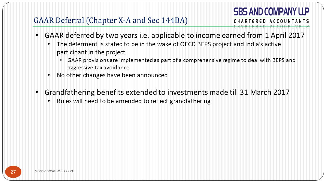 GAAR Deferral (Chapter X-A and Sec 144BA)