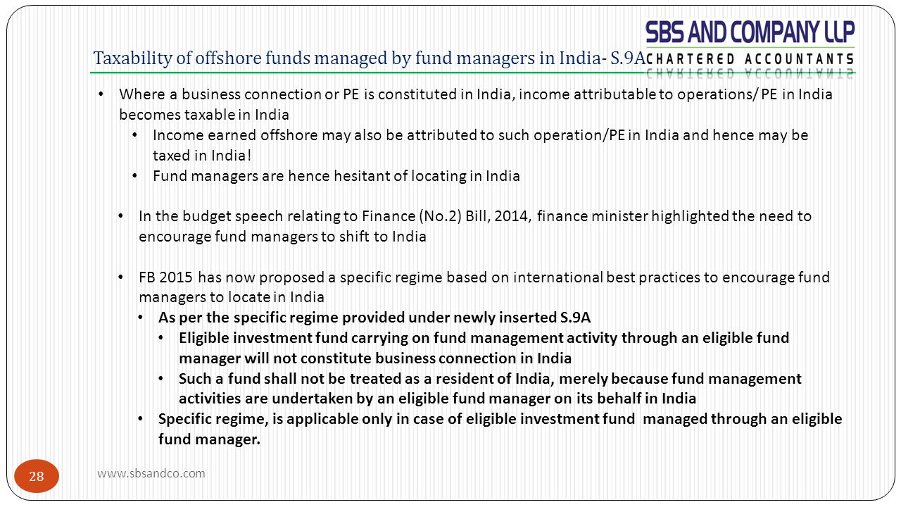 Taxability of offshore funds managed by fund managers in India- S.9A