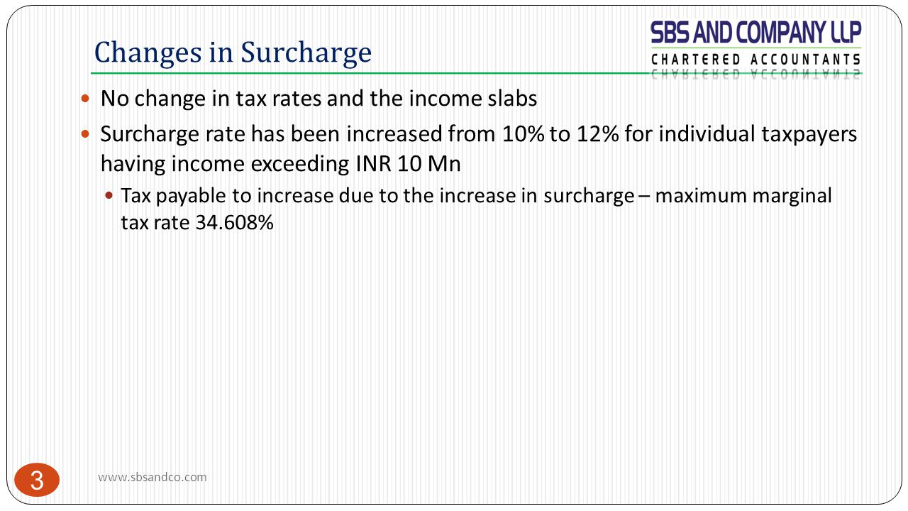 Changes in Surcharge No change in tax rates and the income slabs