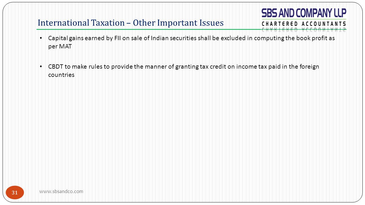 International Taxation – Other Important Issues