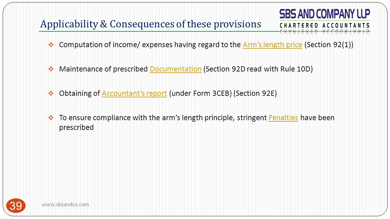 Applicability & Consequences of these provisions