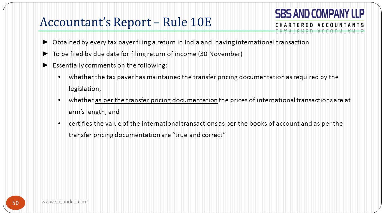 Accountant's Report – Rule 10E