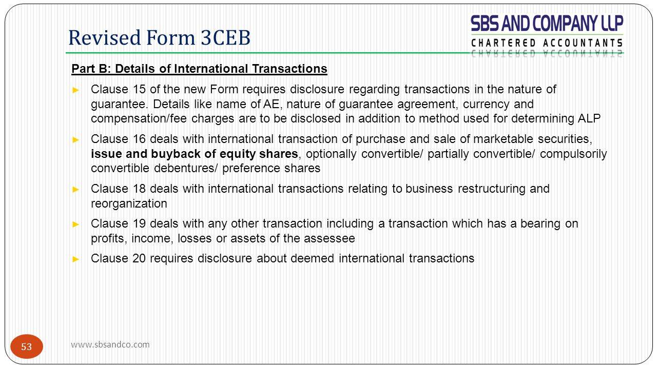 Revised Form 3CEB Part B: Details of International Transactions
