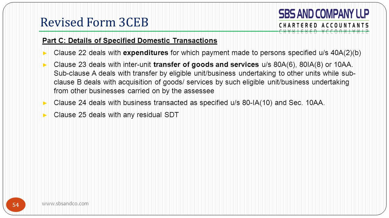 Revised Form 3CEB Part C: Details of Specified Domestic Transactions