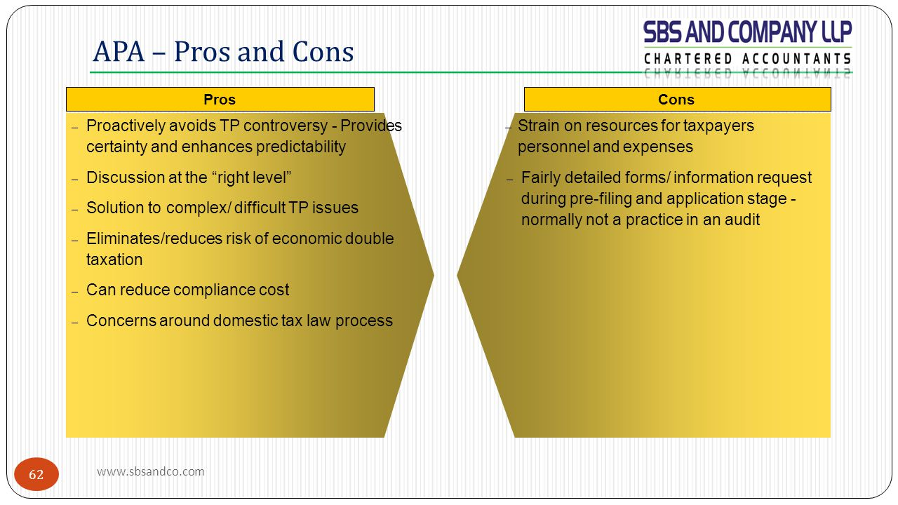 APA – Pros and Cons Pros. Cons. Proactively avoids TP controversy - Provides certainty and enhances predictability.
