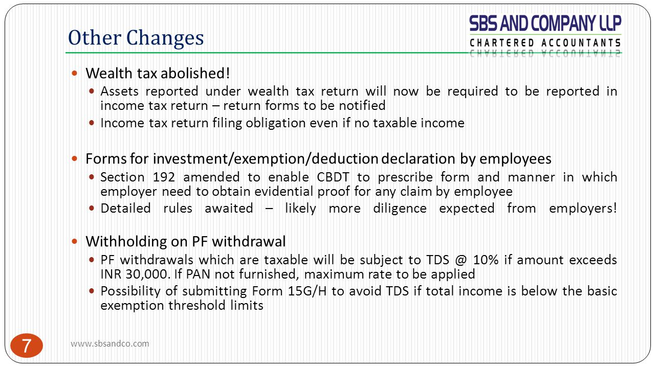 Other Changes Wealth tax abolished!