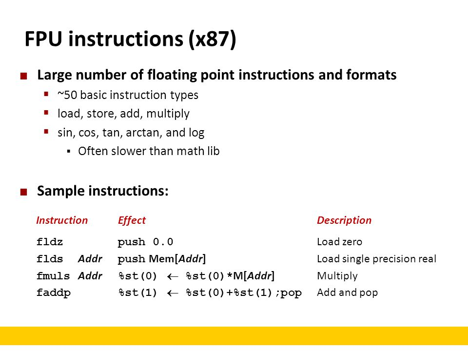 FPU instructions (x87) Large number of floating point instructions and formats. ~50 basic instruction types.