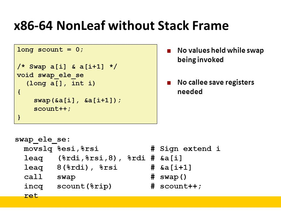 x86-64 NonLeaf without Stack Frame