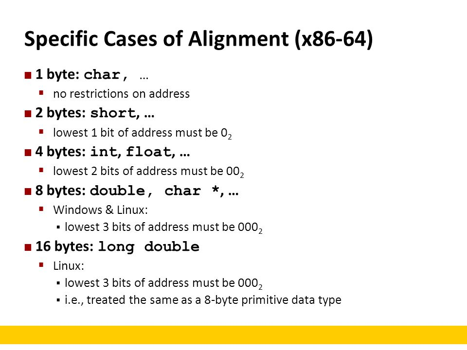 Specific Cases of Alignment (x86-64)