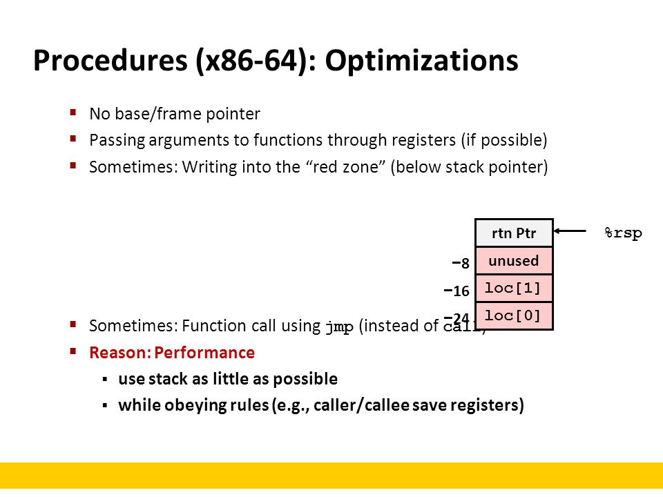 Procedures (x86-64): Optimizations