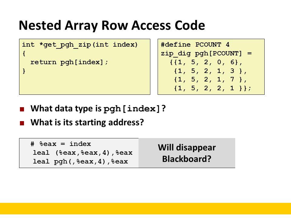 Nested Array Row Access Code