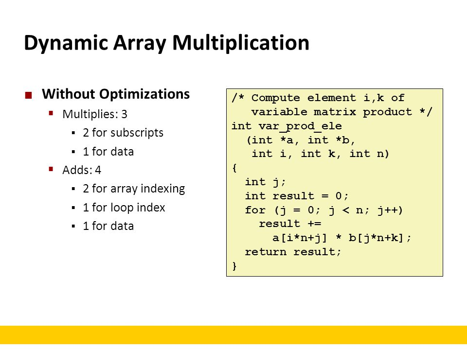 Dynamic Array Multiplication
