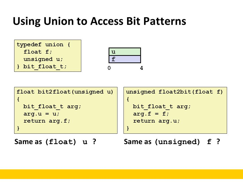 Using Union to Access Bit Patterns