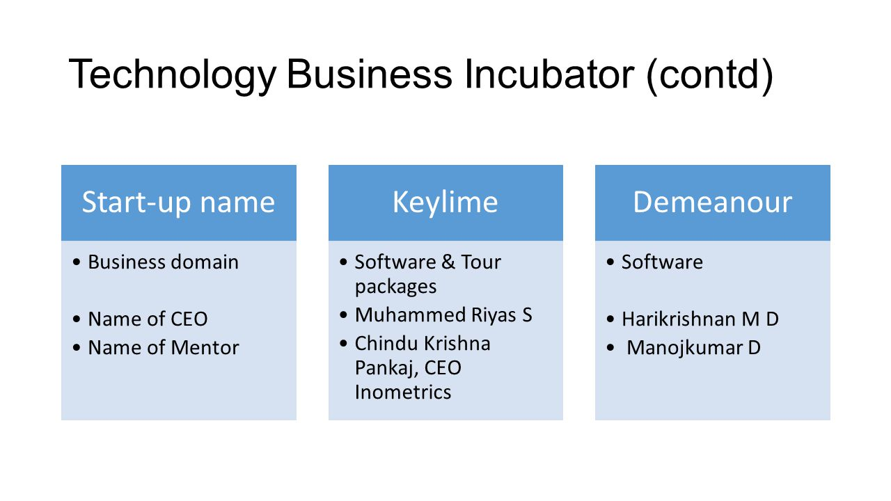 Technology Business Incubator (contd)