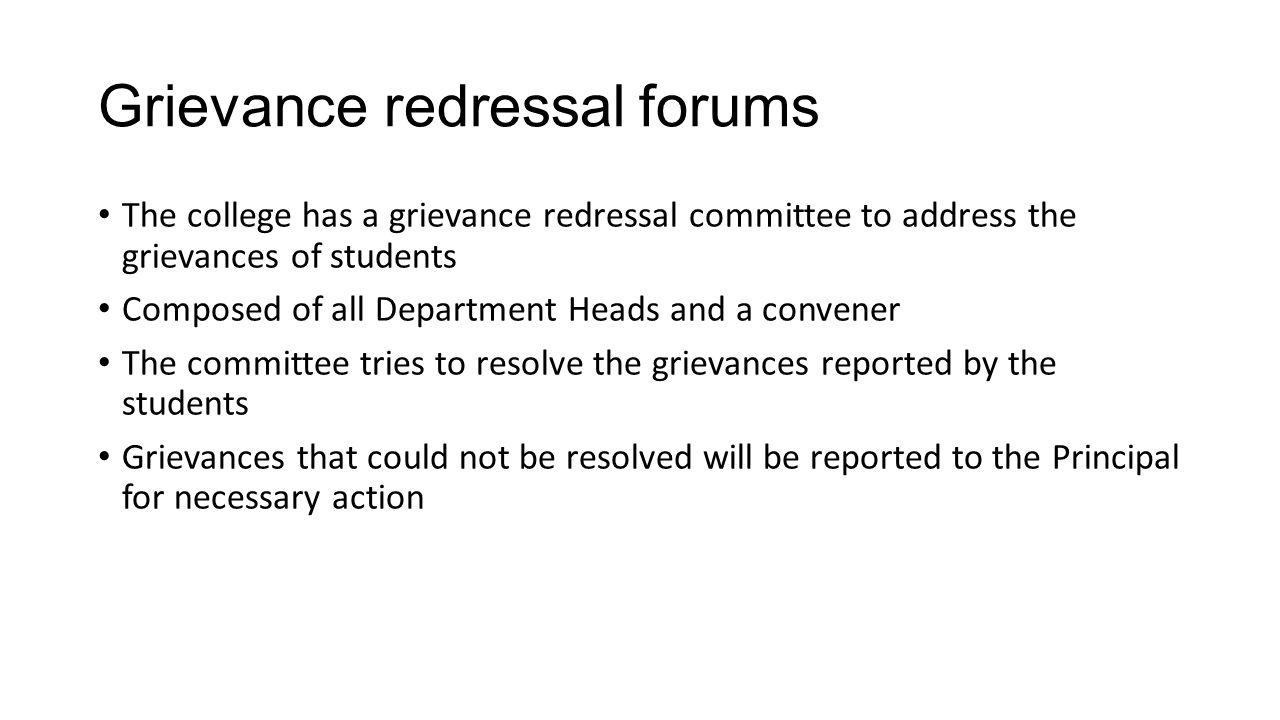Grievance redressal forums