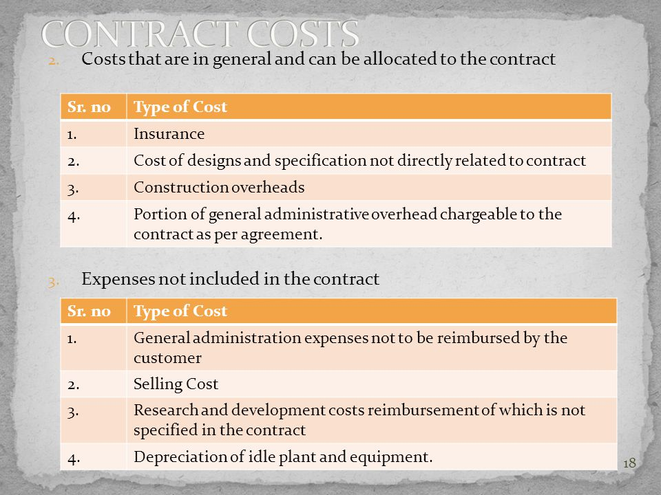 CONTRACT COSTS Costs that are in general and can be allocated to the contract. Expenses not included in the contract.