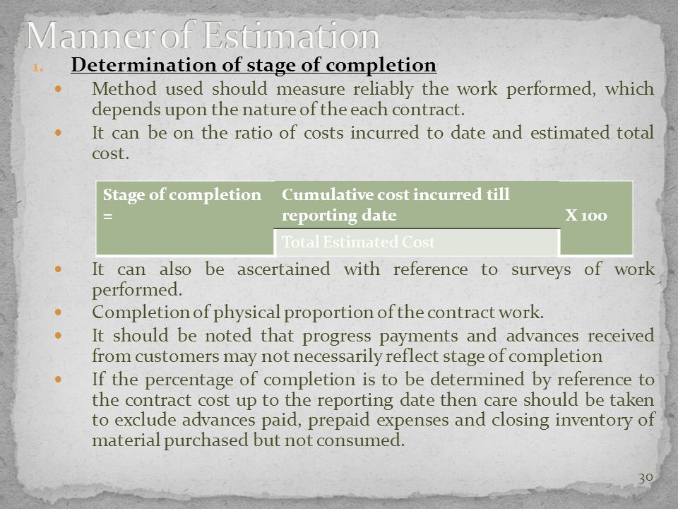 Manner of Estimation Determination of stage of completion