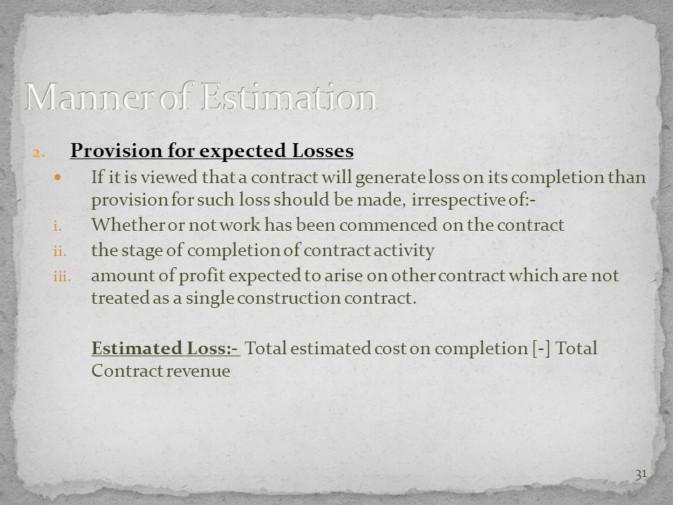 Manner of Estimation Provision for expected Losses