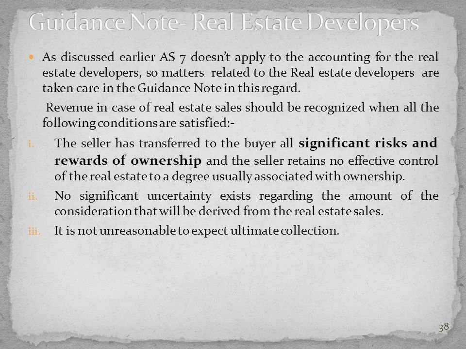Guidance Note- Real Estate Developers