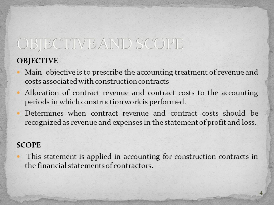 OBJECTIVE AND SCOPE OBJECTIVE