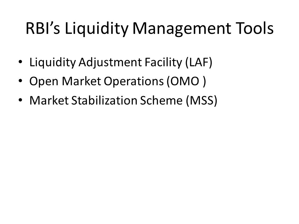 RBI's Liquidity Management Tools