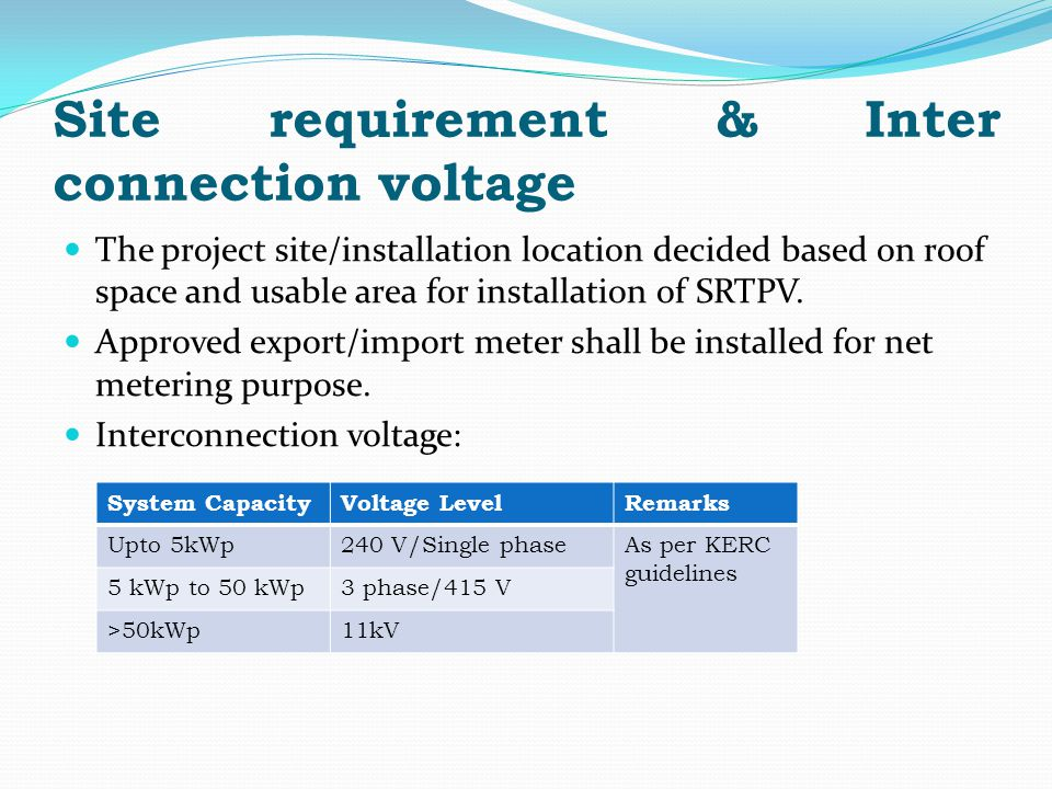 Site requirement & Inter connection voltage