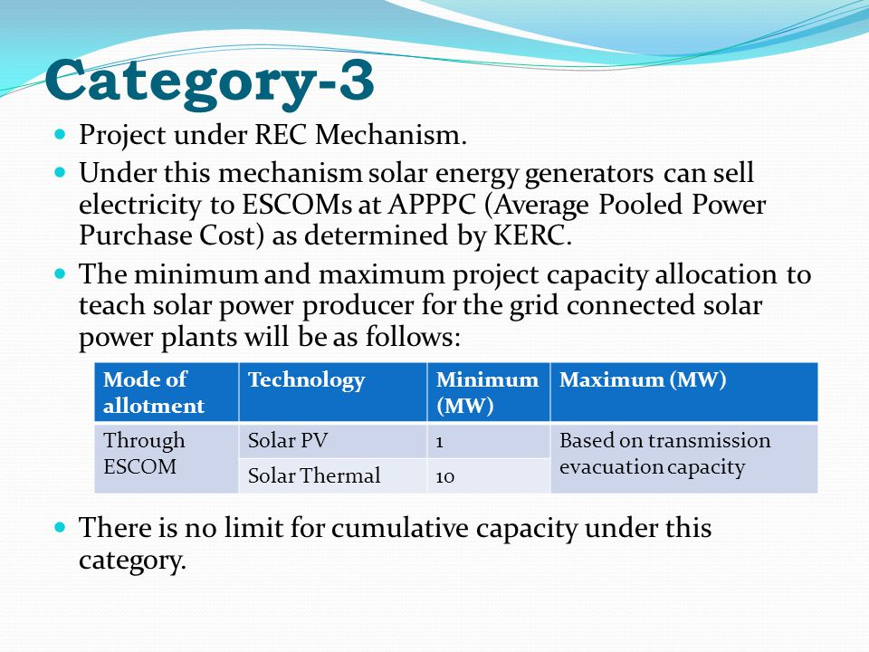 Category-3 Project under REC Mechanism.