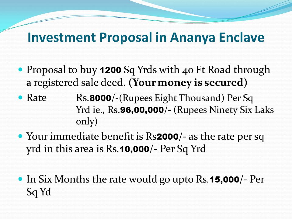 Investment Proposal in Ananya Enclave
