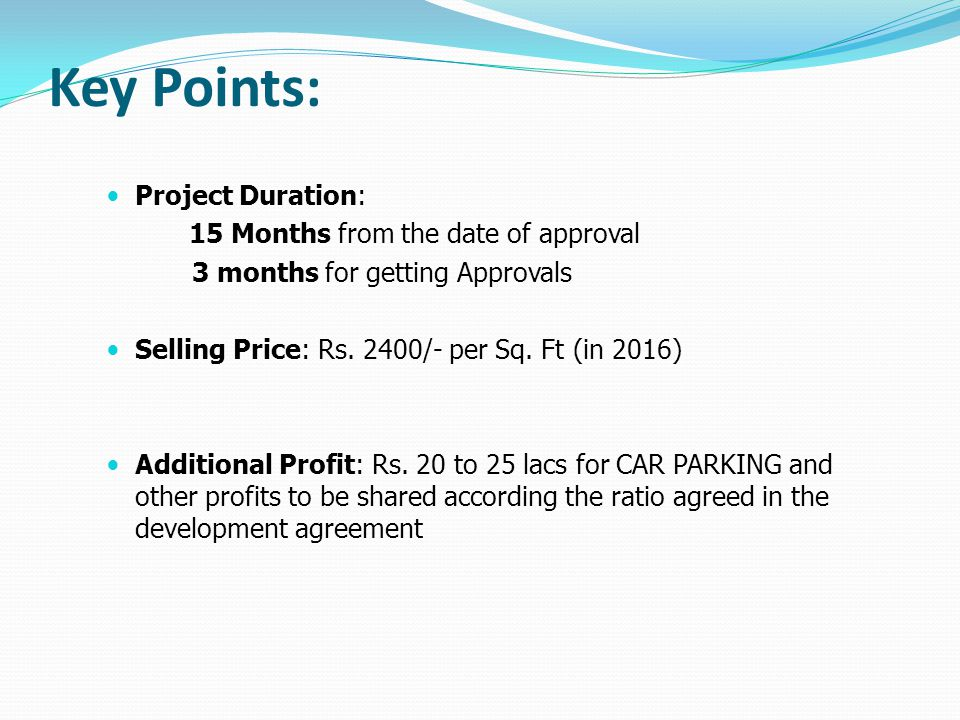 Key Points: Project Duration: 15 Months from the date of approval