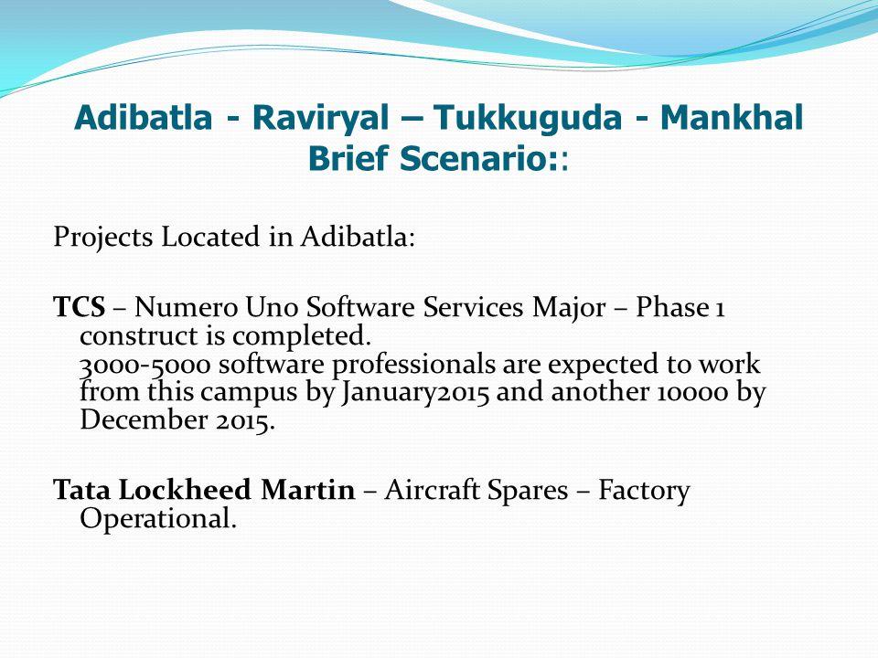 Adibatla - Raviryal – Tukkuguda - Mankhal Brief Scenario::