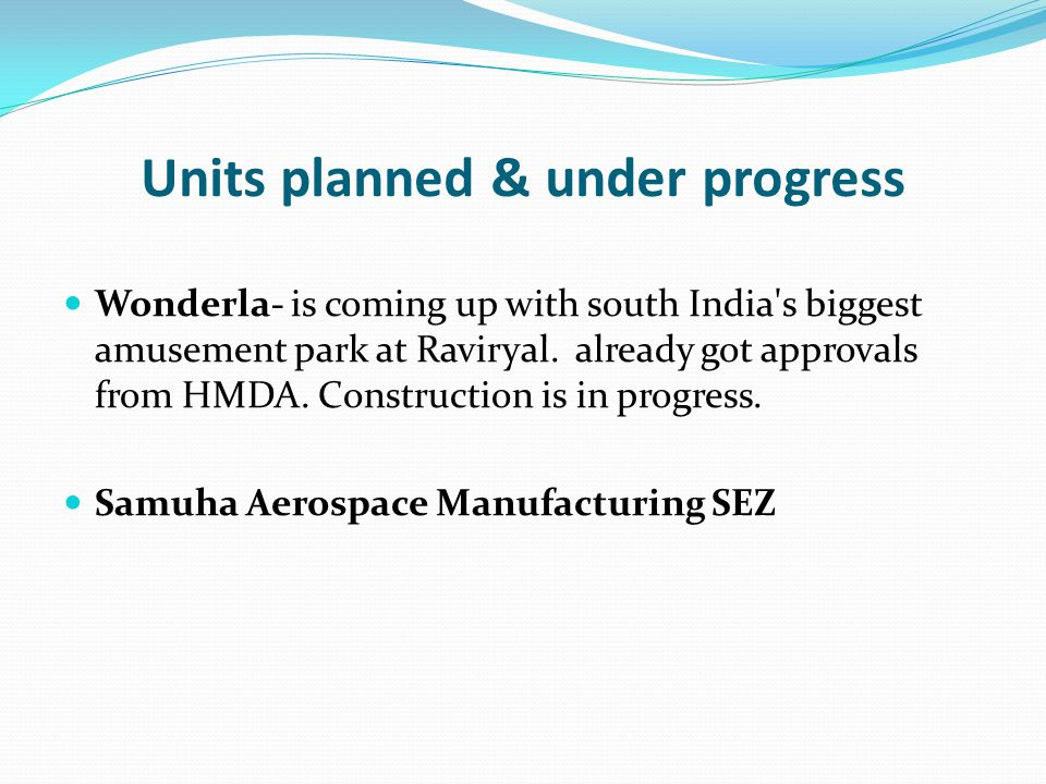 Units planned & under progress