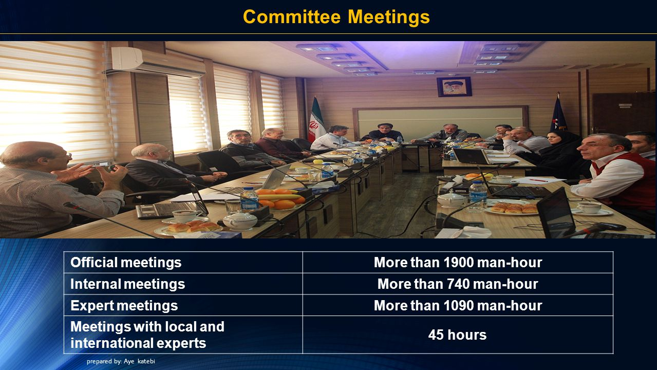 Committee Meetings Official meetings More than 1900 man-hour