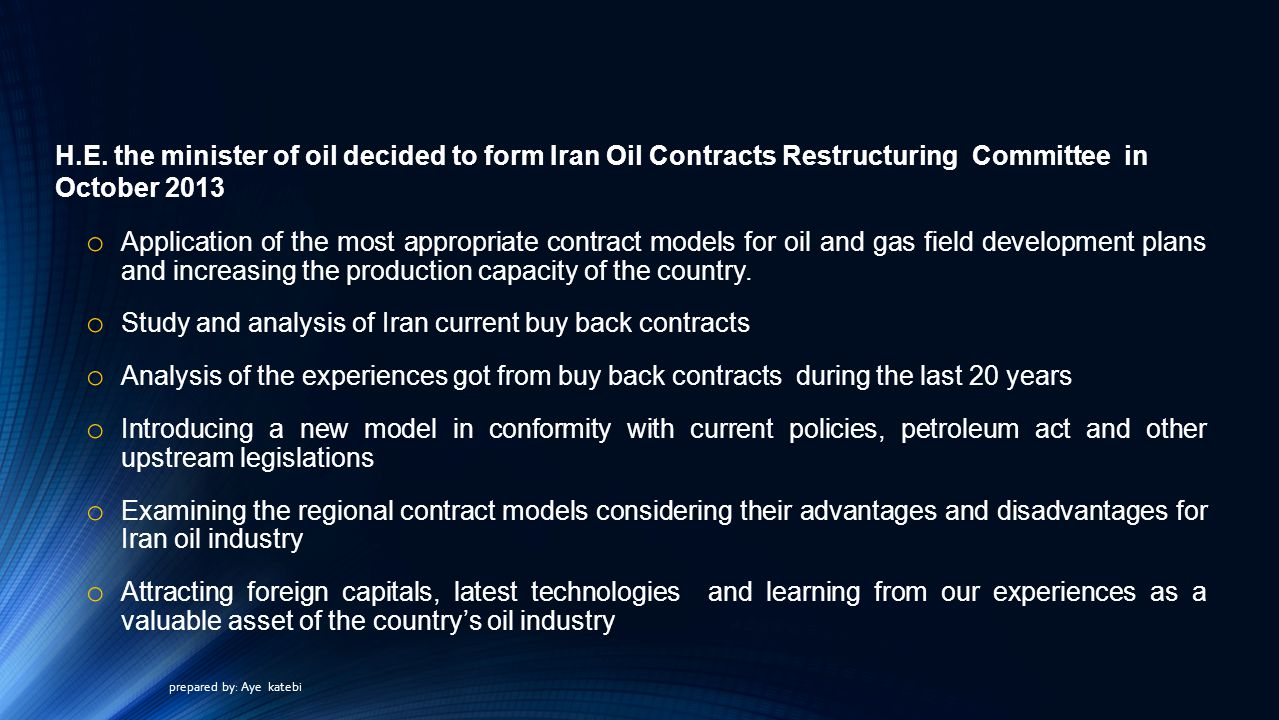 Study and analysis of Iran current buy back contracts