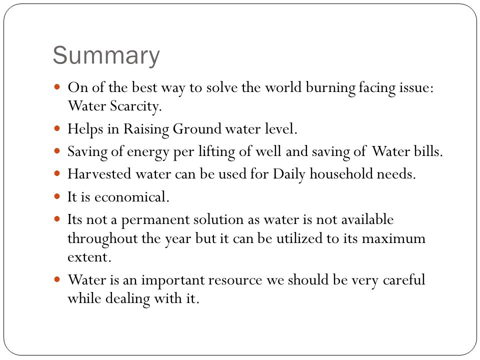 Summary On of the best way to solve the world burning facing issue: Water Scarcity. Helps in Raising Ground water level.