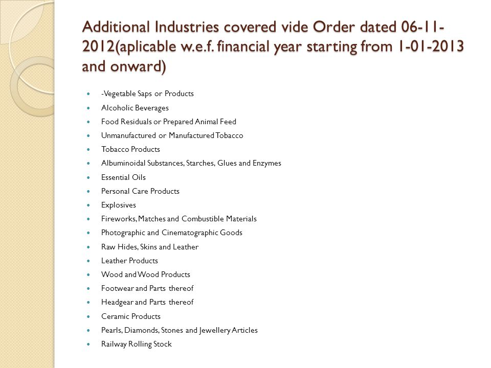Additional Industries covered vide Order dated 06-11-2012(aplicable w