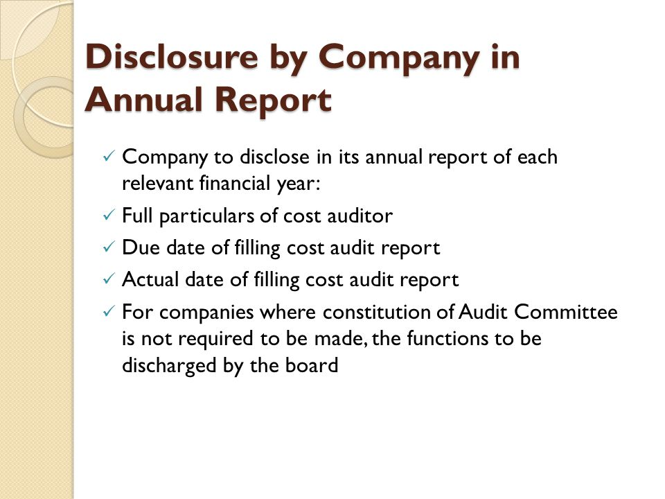 Disclosure by Company in Annual Report