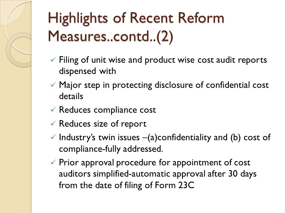 Highlights of Recent Reform Measures..contd..(2)