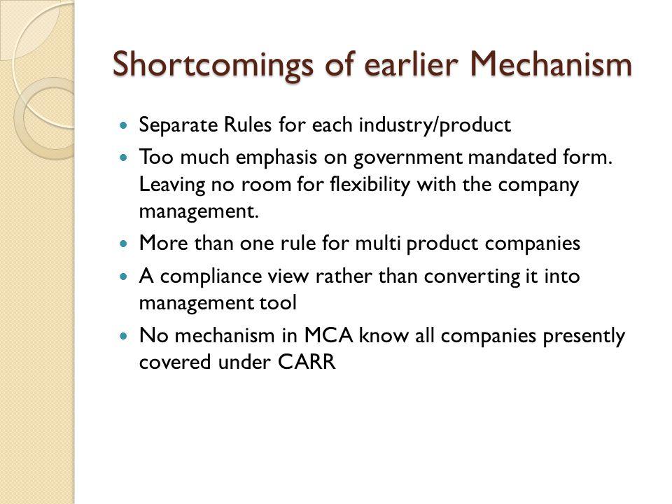 Shortcomings of earlier Mechanism