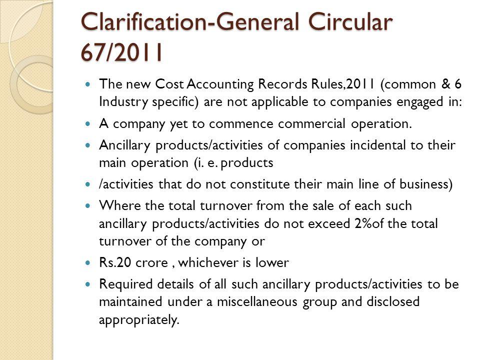 Clarification-General Circular 67/2011