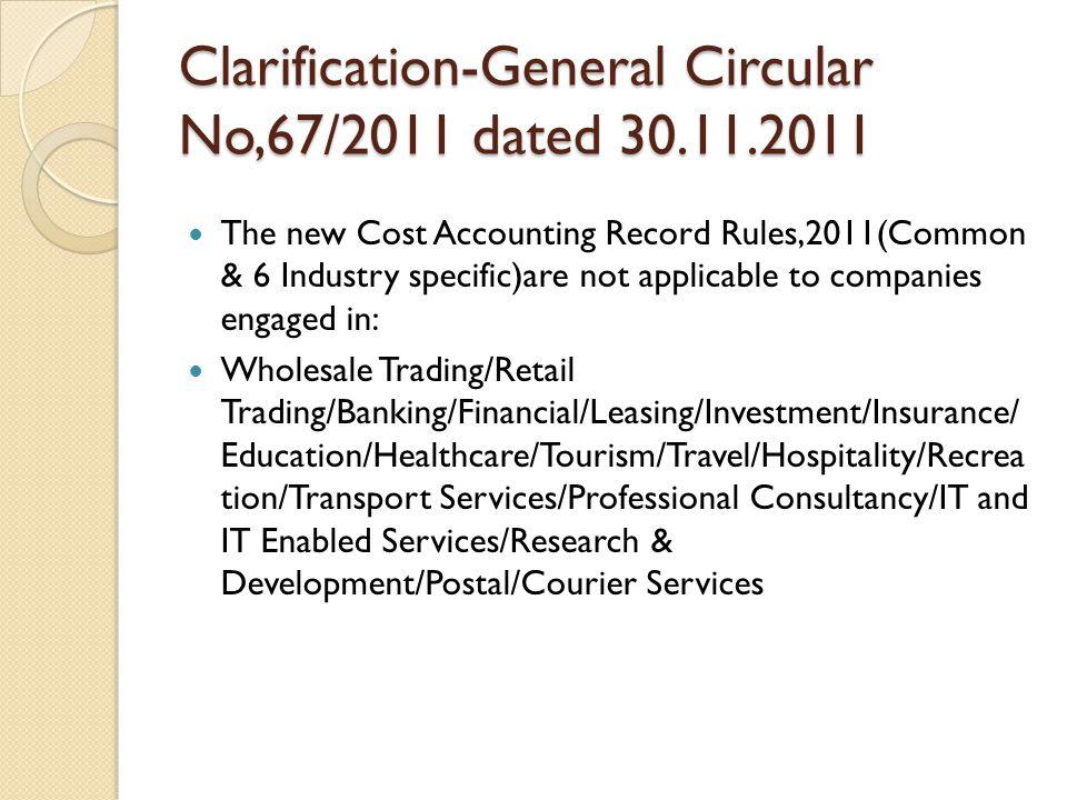 Clarification-General Circular No,67/2011 dated 30.11.2011