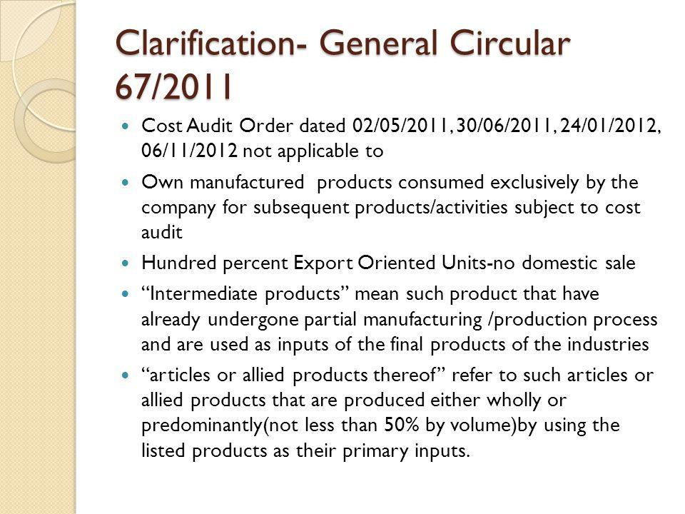 Clarification- General Circular 67/2011