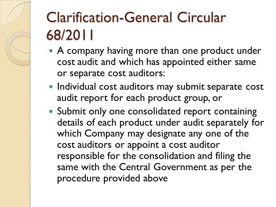 Clarification-General Circular 68/2011