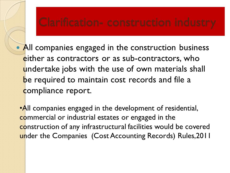 Clarification- construction industry